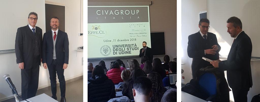 Valerio Civa in facoltà di Economia Aziendale all'Università di Udine - Tenimenti Civa