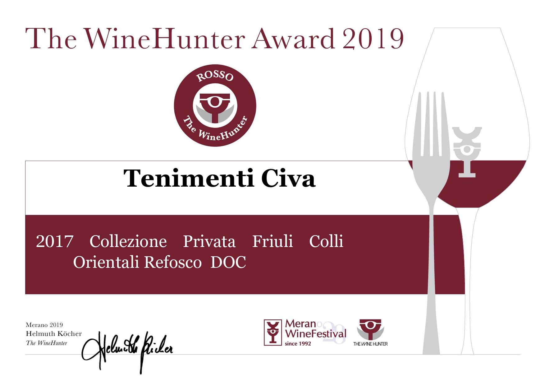 Premio d'eccellenza per il Refosco dal peduncolo rosso 2017 Tenimenti Civa Doc Friuli Colli Orientali