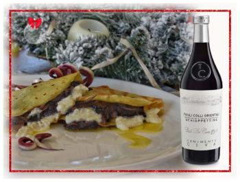 primo piatto mille foglie di crepes con radicchio di Treviso e formaggio saporito
